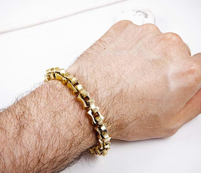 BM597-2 Мужской браслет цепь из стали золотистого цвета фото 06