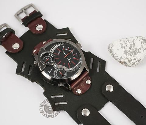 WLS143 Крупный браслет для часов с прорезями из плотной кожи