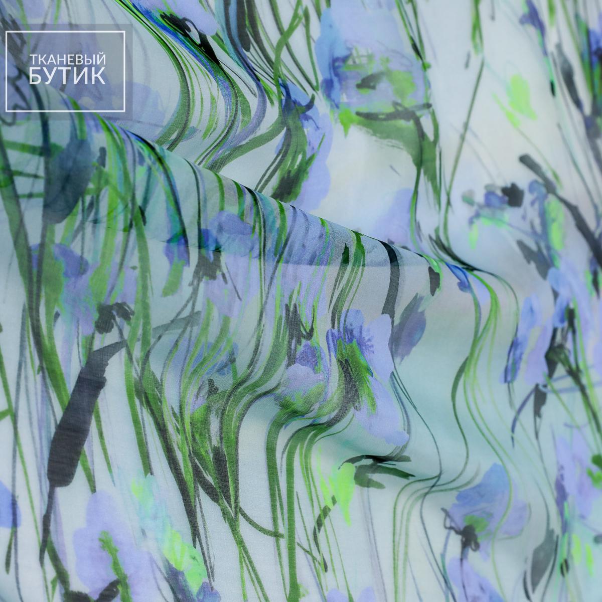 Шелковый шифон с растительным мотивом в зелено-голубых оттенках