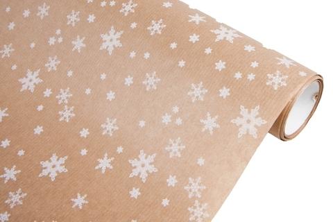 Бумага крафт 40г/м2, 70 см x 10 м, Снежинка, цвет: белый