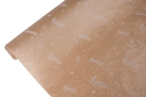 Бумага крафт 40гр/м2, 70см x 10м, Ноты, белый