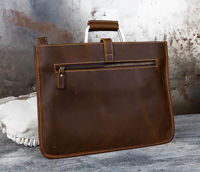 BAG440-2 Мужской портфель с ремнем на плечо из толстой кожи фото 03