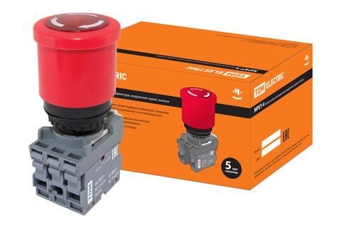 Кнопка грибовидная, возврат поворотом MPET4-10R в сборе d40мм 1з+1р красная TDM