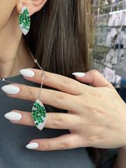 Серьги из серебра GIARDINI с зелеными цирконами