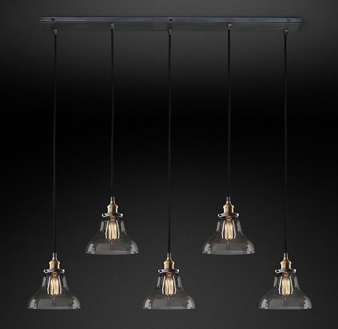 Подвесной светильник копия 20th C. Factory Filament Smoke Glass Boulangerie Rectangular Pendant by Restoration Hardware