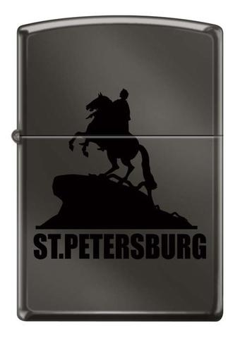 Зажигалка Zippo Медный всадник, латунь/сталь с покрытием Black Ice®, чёрная, глянцевая, 36x12x56 мм123