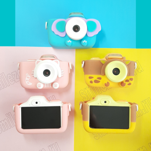 Сенсорный детский фотоаппарат SmileZoom со вспышкой и Wi-Fi / Кот /Жираф / Слон