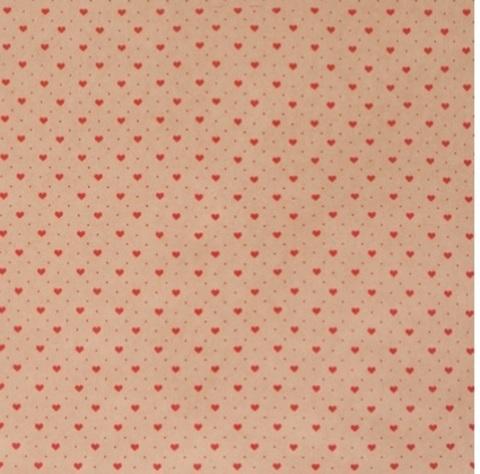 Бумага крафт 45гр/м2, 70см x 10м, Мелкие сердца, цвет:красный