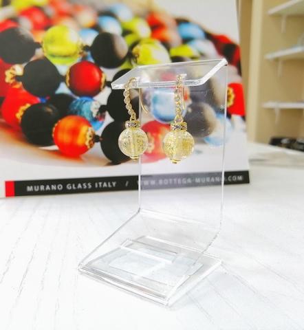 Серьги из муранского стекла со стразами Allegra Ca'D'oro Crystal Gold 004O