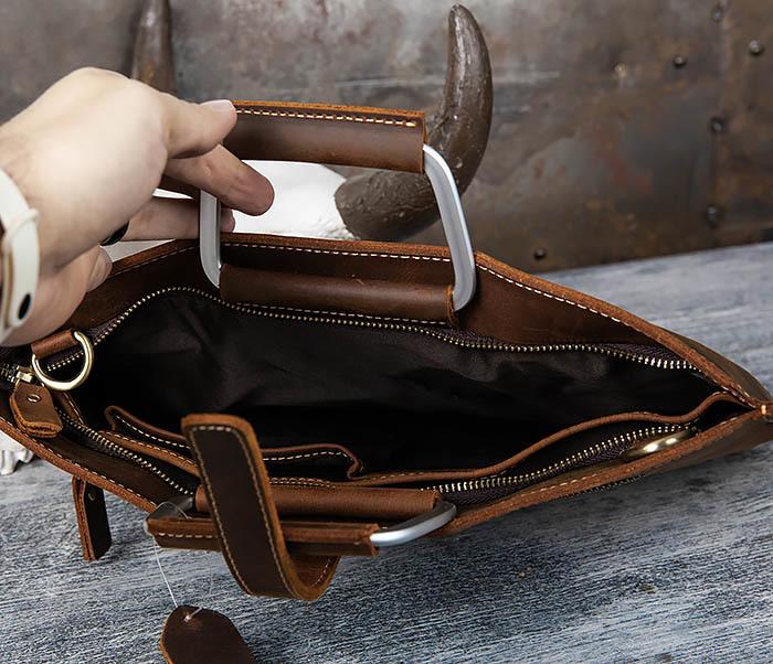 BAG440-2 Мужской портфель с ремнем на плечо из толстой кожи фото 06