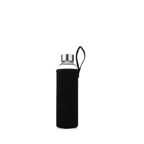 Стеклянная бутылка в чехле, черный, 280 мл