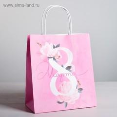 Пакет подарочный крафт «8 Марта», 22 × 25 × 12 см