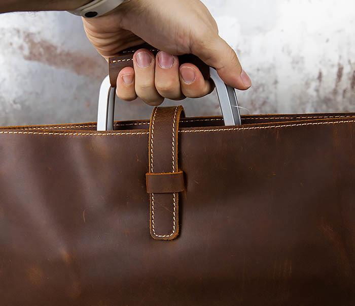 BAG440-2 Мужской портфель с ремнем на плечо из толстой кожи фото 08