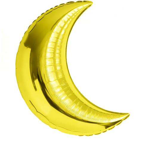 Фольгированный шар полумесяц золотой