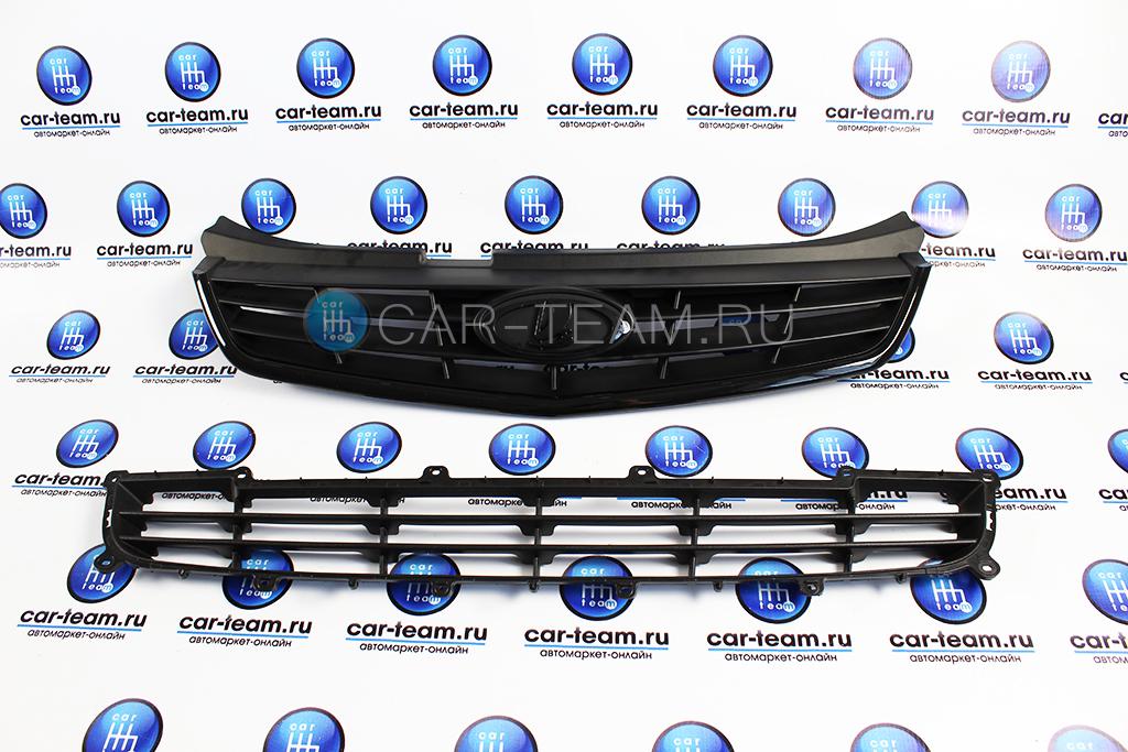 Комплект решеток радиатора на Лада Приора 2 в сборе Black Edition, 4 лопасти