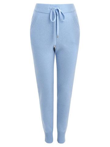 Женские брюки голубого цвета из шерсти и кашемира - фото 3