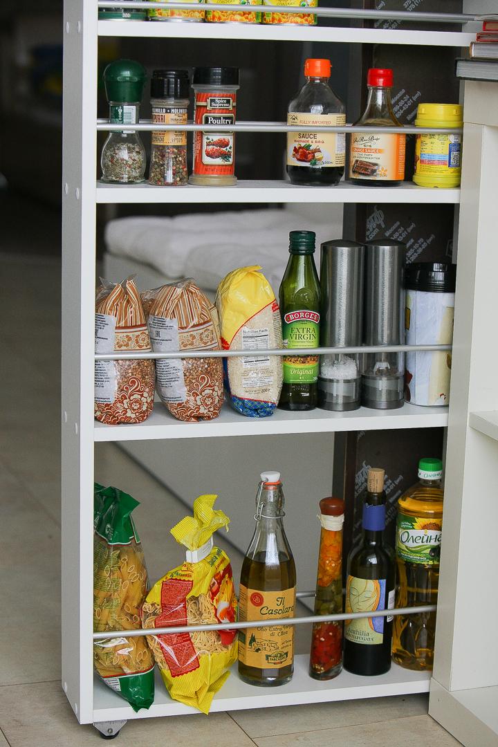 Полка выдвижная, для кухни и ванной комнаты 94х52х12 см, 4-х этажная, белый