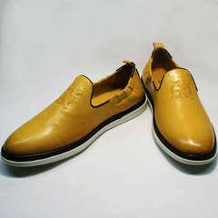 Летние туфли под джинсы мужские King West 053-1022 Yellow-White.