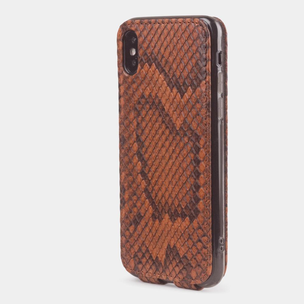 Чехол для iPhone X/XS из натуральной кожи питона, цвета коньяк
