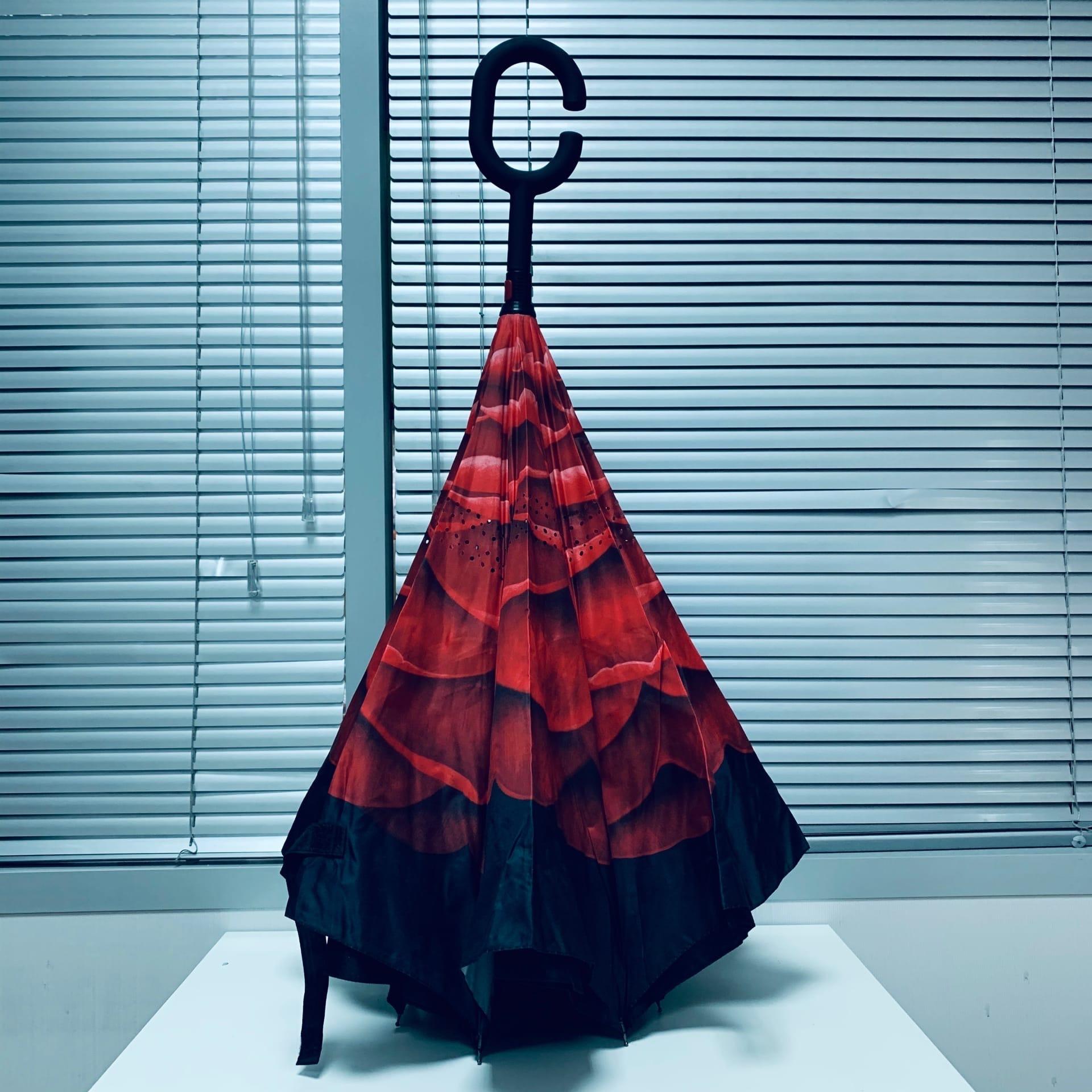 Зонт - наоборот женский Алый