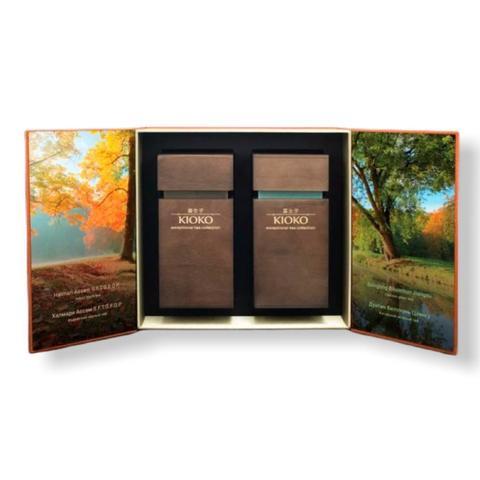 KIOKO WOOD ESSENCE 9-00042375 Подарочный набор чёрного и зелёного чая в деревянных тубусах, 200 г (2 х 100 г)