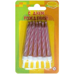 Свечи Перламутр розовый с держателями 12шт 6см