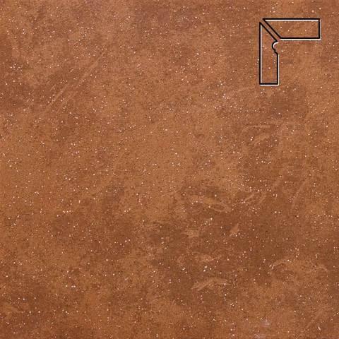 Stroeher - Keraplatte Roccia 841 rosso длина стороны угла 290 артикул 9117 - Плинтус клинкерной ступени левый