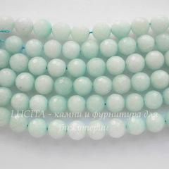 Бусина Амазонит (тониров), шарик с огранкой, цвет - светло-бирюзовый, 10 мм, нить