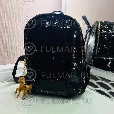 Рюкзак чёрный с пайетками меняющий цвет Чёрный-Серебристый и брелок Единорог Mila