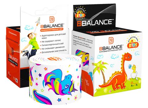 Гипоаллергенные тейпы для детей 5см*5м единорог белый, Bbalance Корея