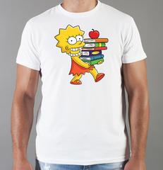 Футболка с принтом мультфильма Симпсоны (The Simpsons) белая 006