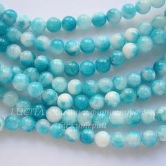 Бусина Жадеит (тониров), шарик, цвет - бело-голубой, 6 мм, нить