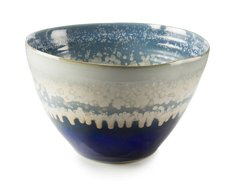 Reactive Blue and Cream Bowl