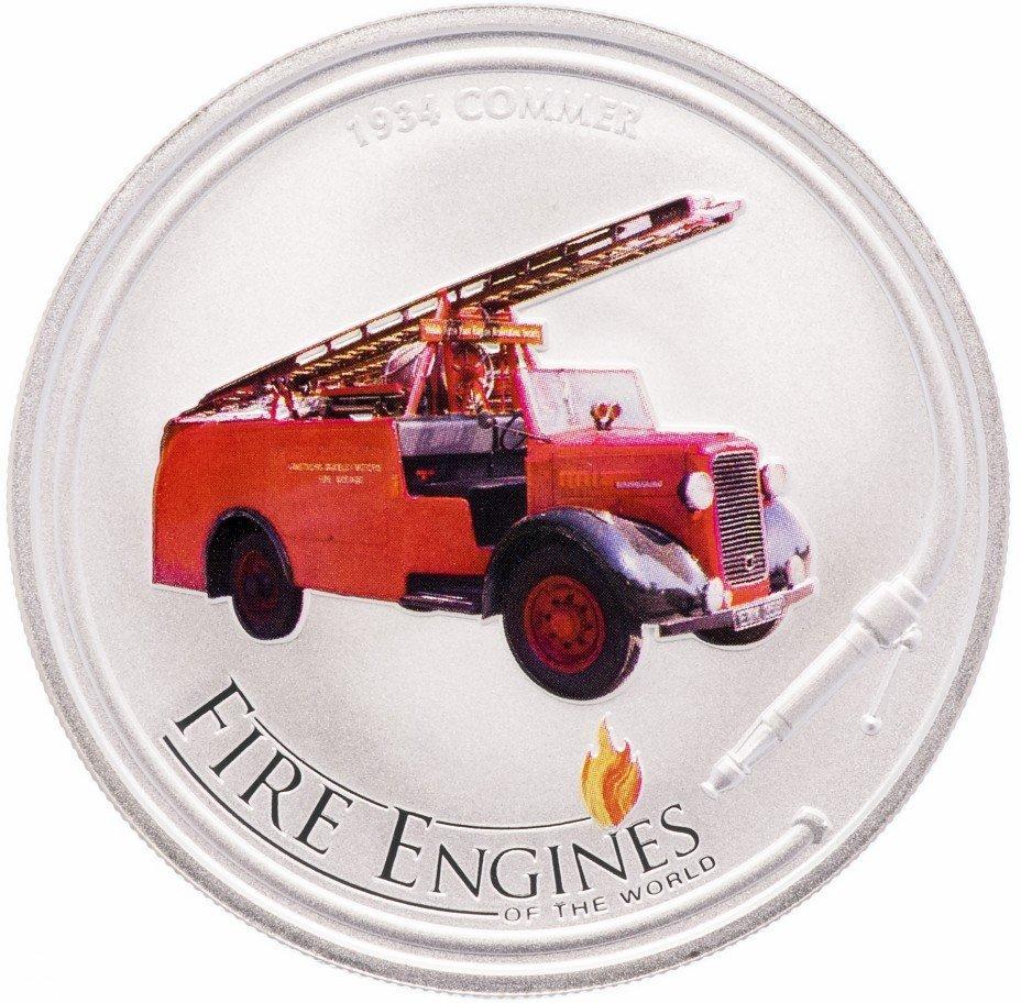 1 доллар 2006 год о. Кука. Пожарная машина 1934 года. Серебро UNC с цветной печатью в родной коробке