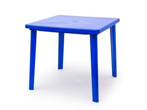 Пластиковый квадратный стол синий