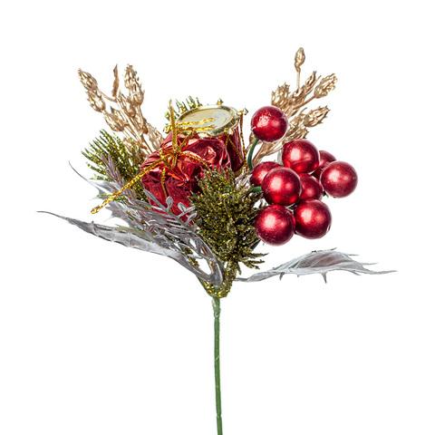 Вставка новогодняя, высота 20см, цвет: красный/серебряный