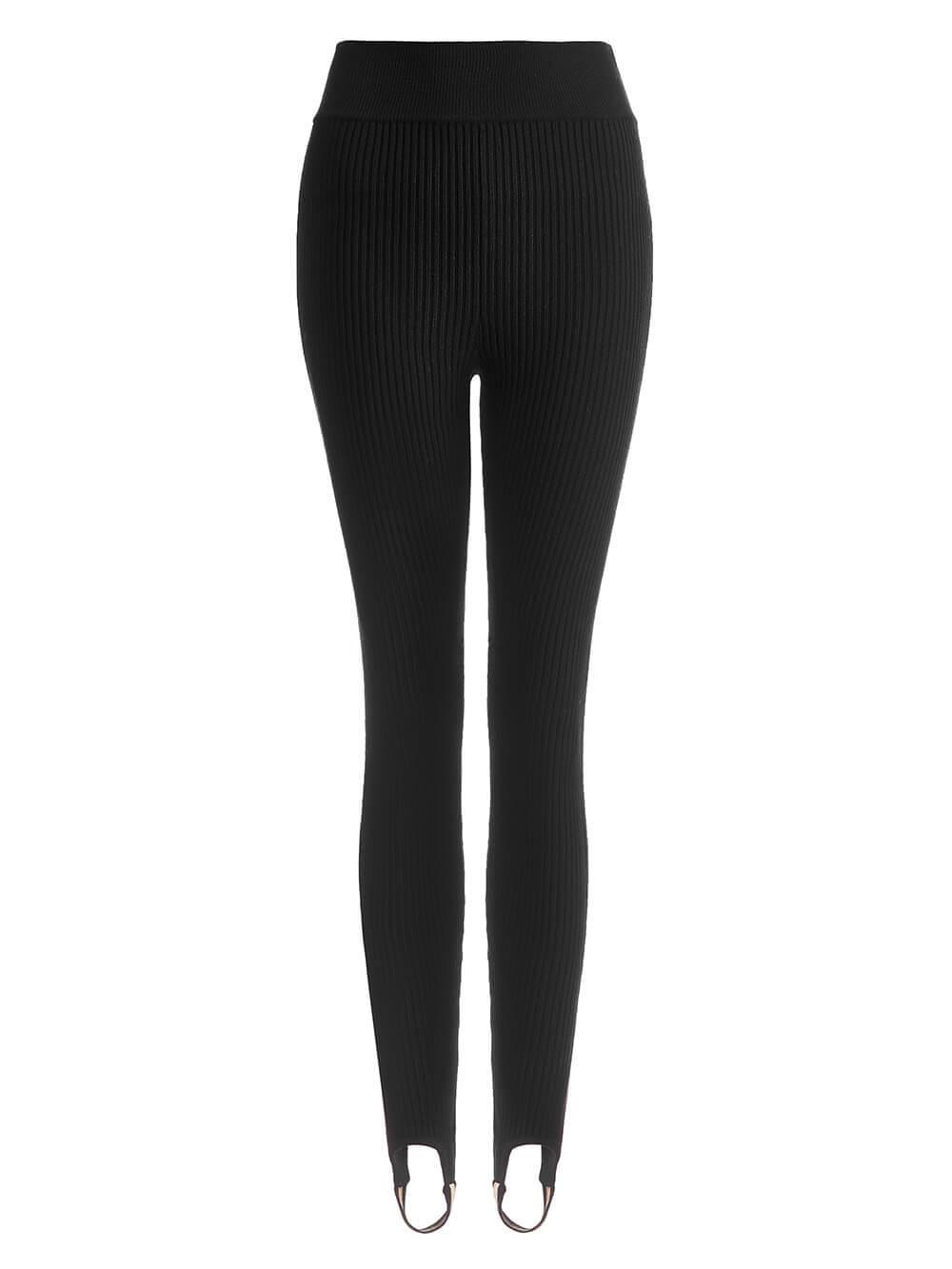 Женский брюки черного цвета из шерсти с контрастной полосой и штрипками - фото 1