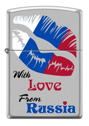 Зажигалка Zippo Из России с любовью, латунь/сталь с покрытием Satin Chrome, серебристая матовая123