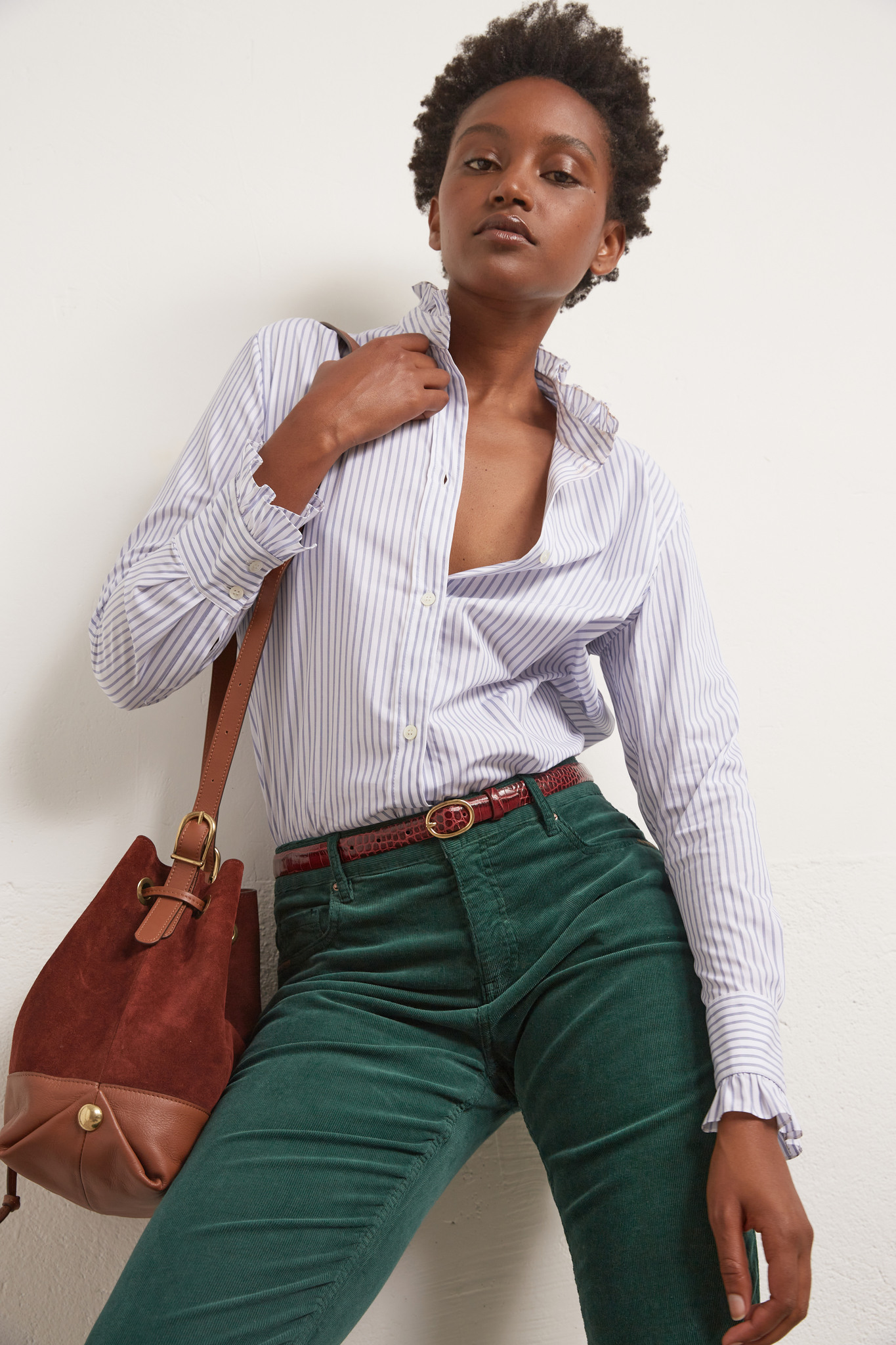 AMBRA - Хлопковая рубашка в полоску
