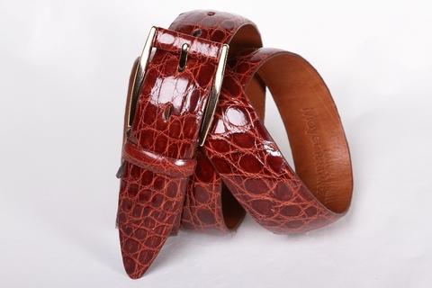 Мужской ремень из крокодила светло-коричневого цвета 35-01