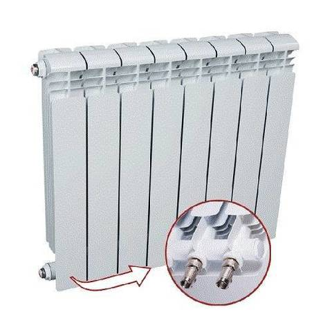 Радиатор алюминиевый секционный Rifar Alum Ventil 350 - 12 секций (подключение нижнее слева)