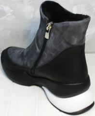 Женские кожаные полусапожки сникерсы с мехом Jina 7195 Leather Black-Gray