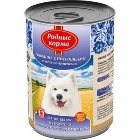 Родные Корма консервы для собак говядина с потрошками в желе по-купечески 970 г