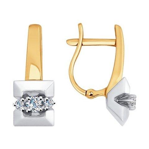 1020960- Серьги из комбинированного золота с бриллиантами