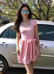 Бант. Яркое молодежное летнее платье. Розовый