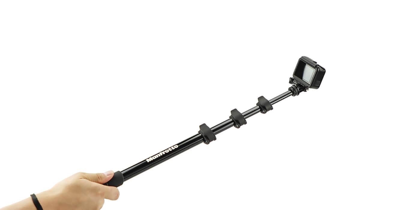 Монопод-штатив Manfrotto Compact Xtreme 2-в-1 с GoPro вид сбоку