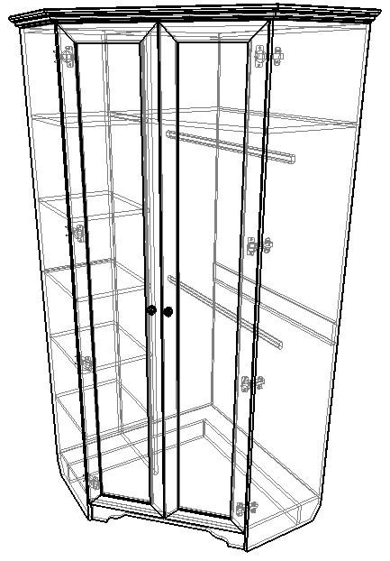 Угловой блок № 3 Шкаф угловой + Пенал с левой стороны и Пенал с правой стороны Классика