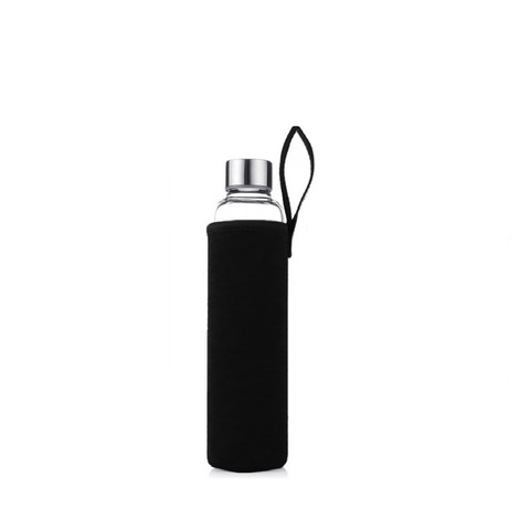 Стеклянная бутылка в чехле, черный, 500 мл