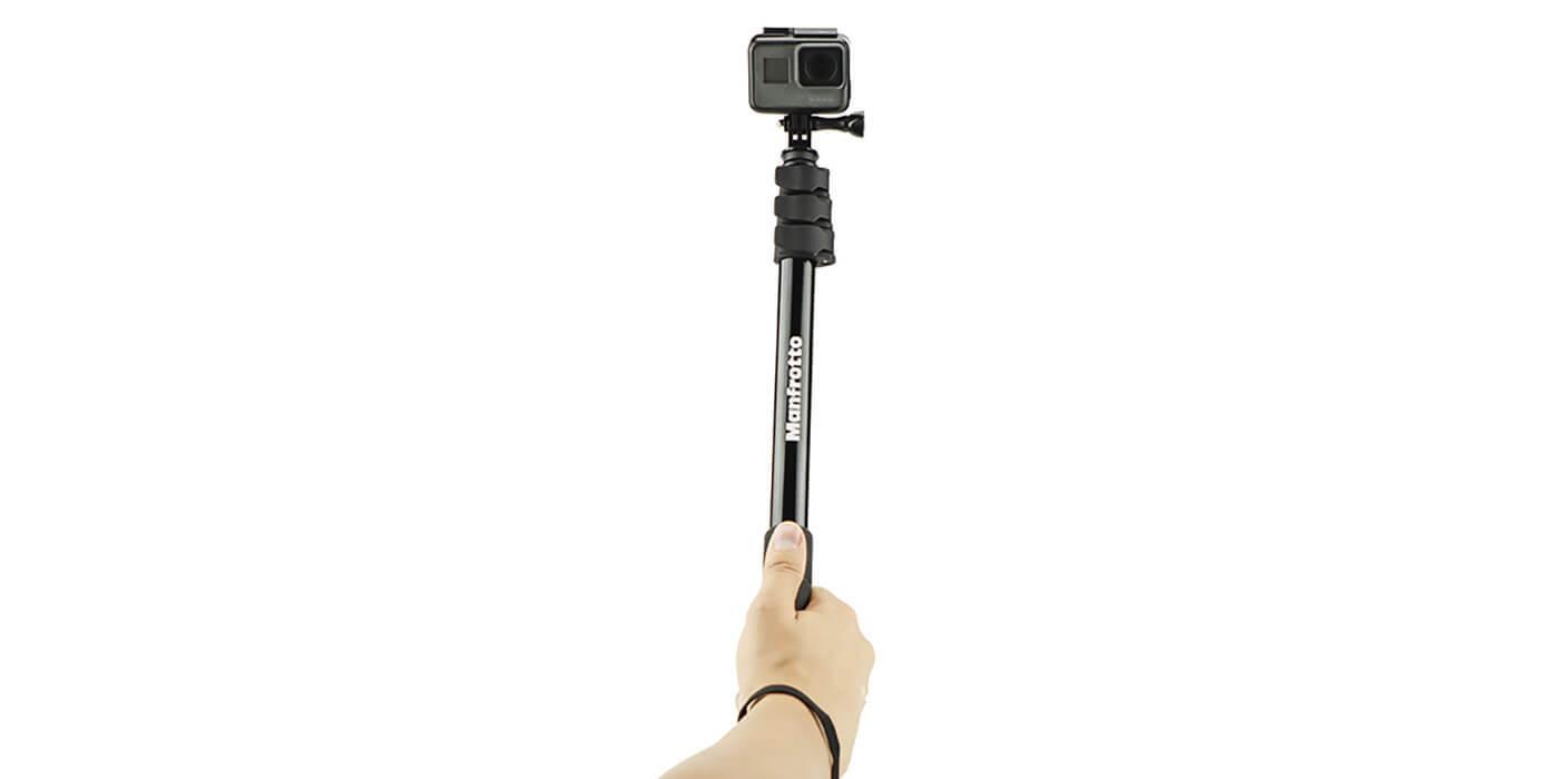 Монопод-штатив Manfrotto Compact Xtreme 2-в-1 с GoPro вид спереди