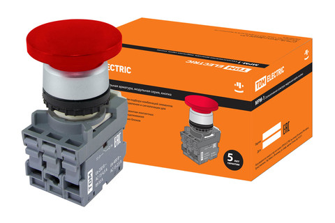 Кнопка грибовидная МРМ1-10R в сборе d40мм 1з+1р красная TDM
